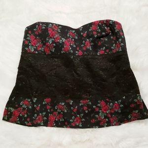TORRID Floral Lace Corset Strapless Tube Top Sz 1